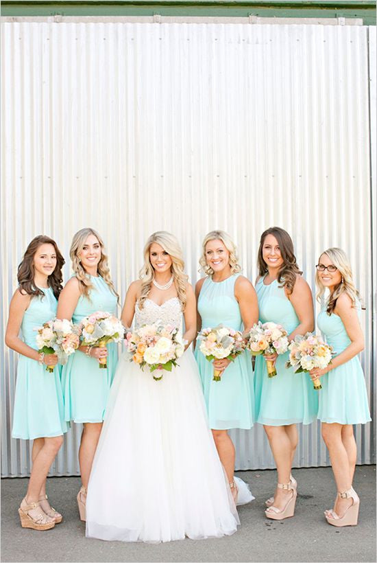 mint bridesmaid dress,short bridesmaid dress,o neck bridesmaid dress,cheap bridesmaid dress,BD1651 - dream dress