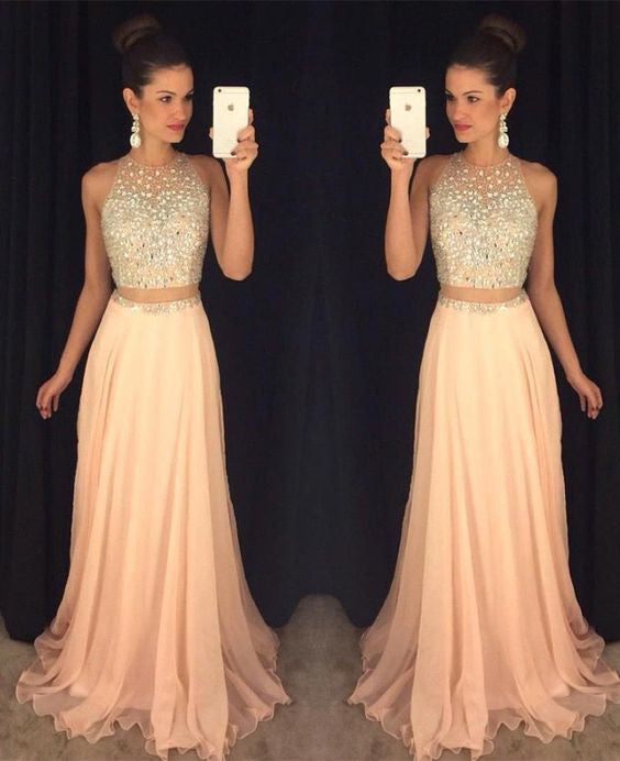 blush pink prom dress,two pieces Prom Dress,charming prom dress ...