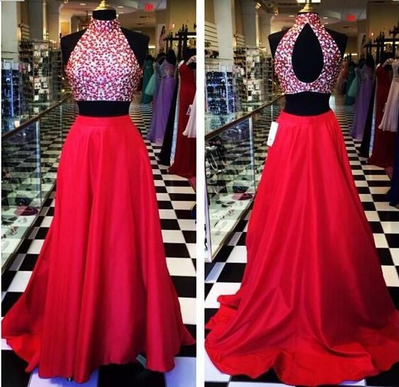 2 Pieces red high neck long Prom Dress,A-line evening gown,BD390 - dream dress