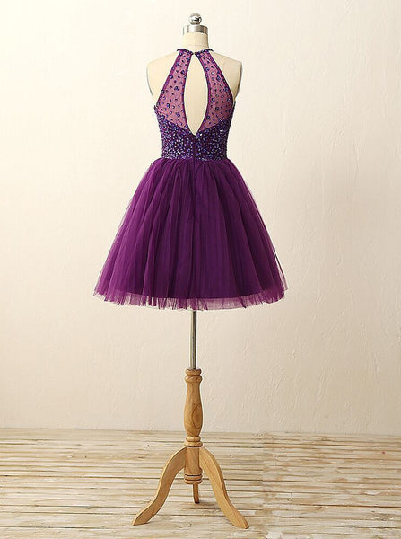Homecoming dress,short prom Dress,Purple Prom Dresses,Party dress for girls,halter prom dress,BD375 - dream dress