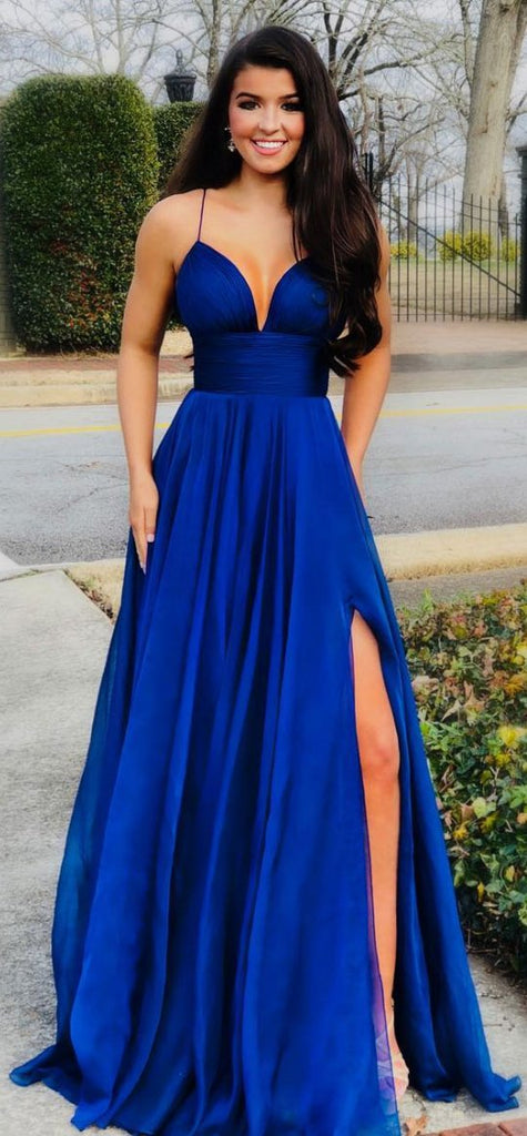 Simple v neck blue satin long prom dresses, blue evening dresses,PD3662