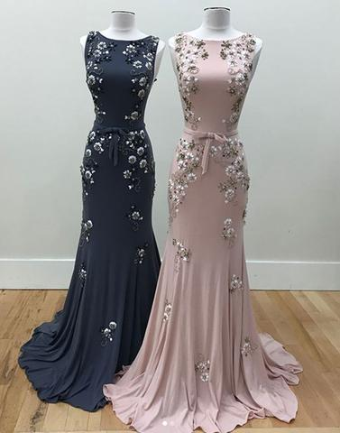 Unique round neck mermaid beads long prom dresses, evening dresses,PD22002