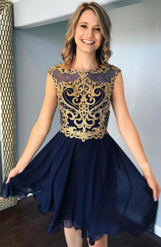 Dark blue round neck lace short prom dress, blue homecoming dresses,PD3661