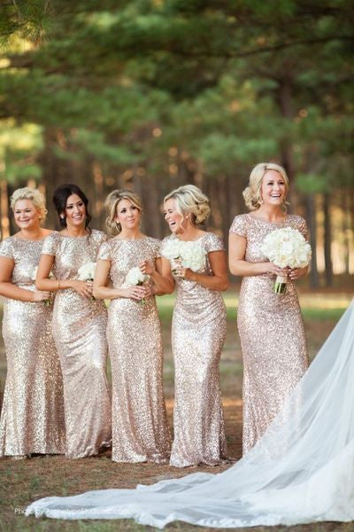 Gold Sequin bridesmaid dress,long bridesmaid dress,Short Sleeves bridesmaid dress,Open Back bridesmaid dress,BD005 - dream dress
