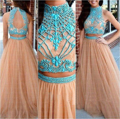 2 Pieces Tulle A-line High neck Prom Dress, long evening dress, BD169 - dream dress