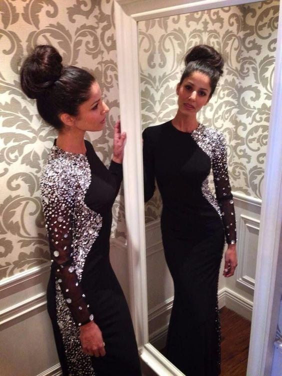 black Evening Dress,long Prom Dress,charming prom dress,long sleeves prom dress,BD805 - dream dress