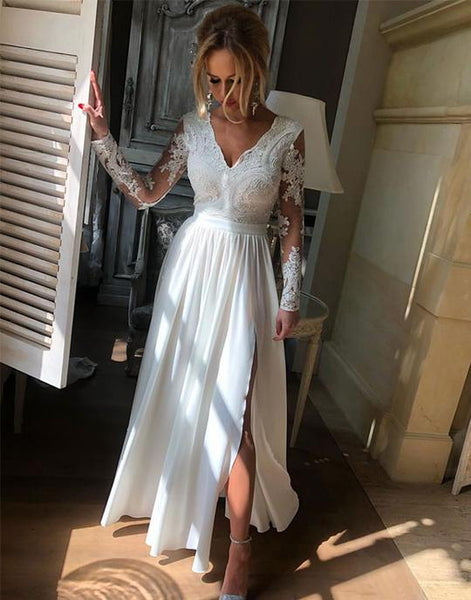 White v neck lace long prom dresses, white lace bridesmaid dresses,PD3630