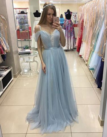 light blue tulle long prom dress, lace evening dress,BD17042405 - dream dress