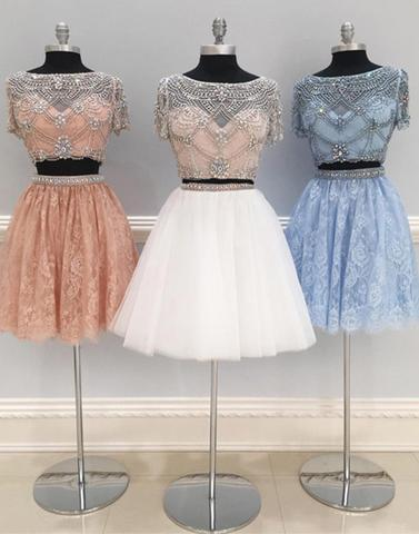 Cute tulle two pieces short prom dress, lace homecoming dress,PD2032