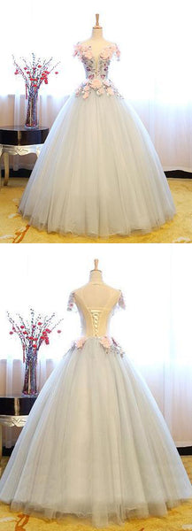 2018 Gray round neck tulle lace applique long prom dress, sweet 16 dress,PD1910