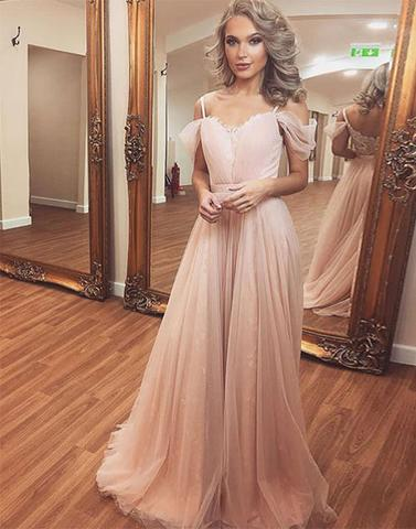 Pink sweetheart neck tulle chiffon long prom dresses, pink evening dresses,PD23002