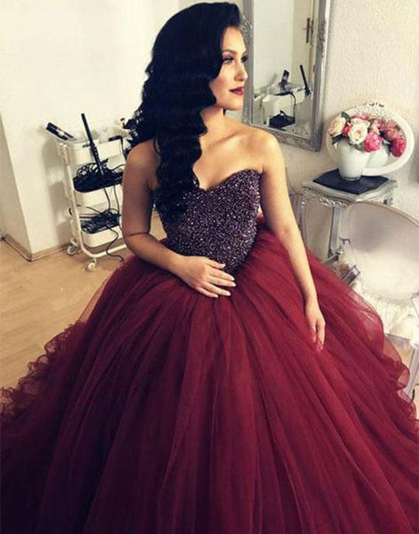 Burgundy sweetheart tulle long prom dresses, burgundy tulle evening dresses,PD3643