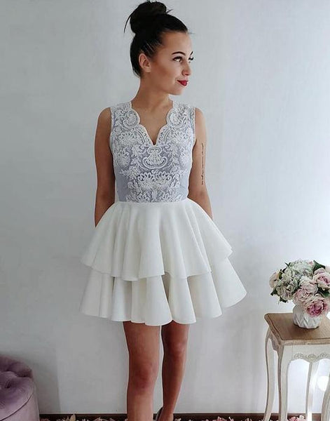 White lace short prom dresses, lace homecoming dresses,PD3632