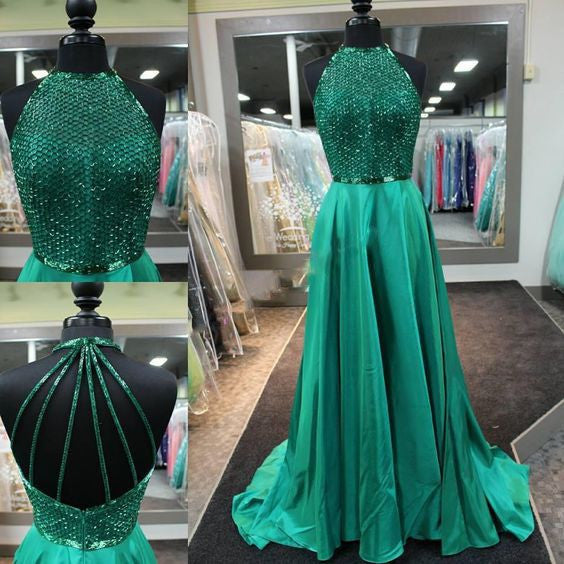 green prom dress,long prom dress,beaded prom dress,2017 new arrived Gown,charming evening gown,BD2614 - dream dress