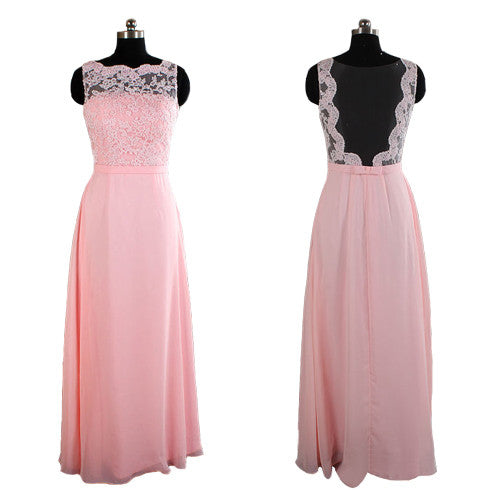 pink bridesmaid dress,Long bridesmaid dress,lace bridesmaid dress,cheap prom dress,BD448 - dream dress