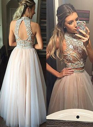 two pieces Evening Dress,beaded Prom Dress,long prom dress,A-line prom dress,evening dress for teens,BD64580 - dream dress
