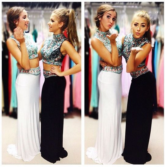 two pieces prom dress,charming Prom Dress,long prom dress,high neck prom dress,party dress,BD1359 - dream dress