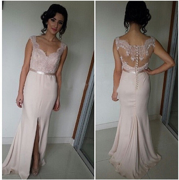 long bridesmaid dress,blush pink bridesmaid dress,Cheap bridesmaid dress,side slit prom dress,BD444 - dream dress