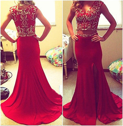 Red prom Dress,Charming Prom Dresses,Two pieces prom Dress,2017 prom dress,Party prom dress,BD106 - dream dress