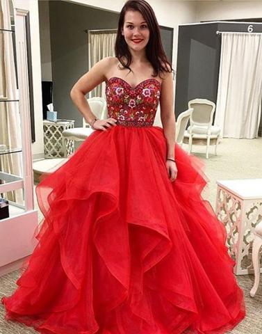Red tulle sweetheart neck long prom dresses, red evening dresses,PD07001