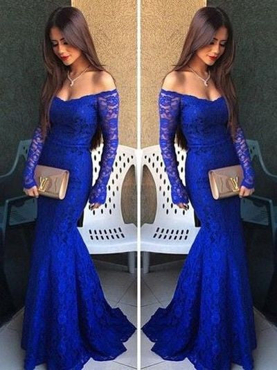 lace Prom Dresses,off shoulder prom dress,long prom Dress,royal blue prom dress,formal evening dress,BD2812 - dream dress