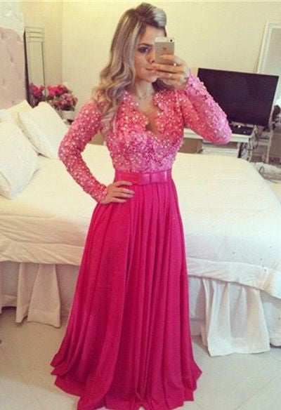 hot pink Prom Dresses,long sleeves prom dress,floor-length prom Dress,charming prom dress,beaded evening dress,BD2811 - dream dress