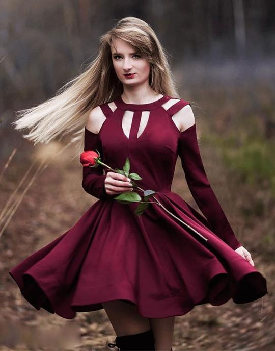 Simple burgundy short prom dresses, burgundy homecoming dresses,PD3667