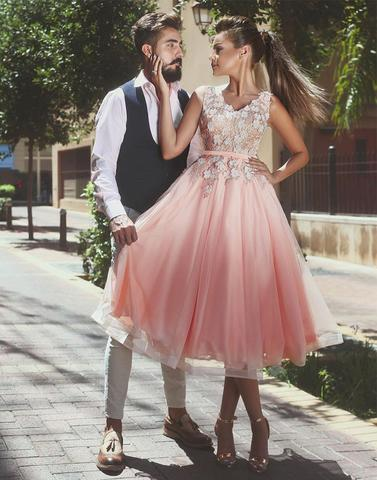 Pink v neck applique tulle prom dresses, pink evening dresses,PD24006