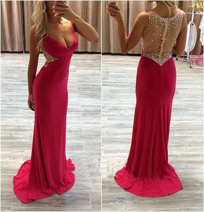 Hot pink prom dress,sexy prom dresses,long prom dresses,prom dresses 2017,cheap prom dresses,BD102 - dream dress