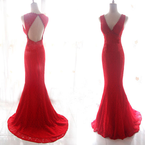 Red Prom Dresses,Lace Prom Dress,Mermaid Prom dress,Backless Prom Dress,Evening Dress,BD397 - dream dress