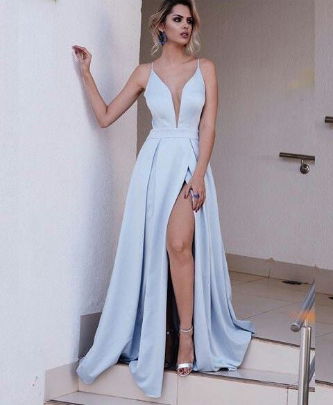 light blue prom dress, long prom dress, v-neck prom dress, 2017 party dress, prom dress with side slit,BD473 - dream dress