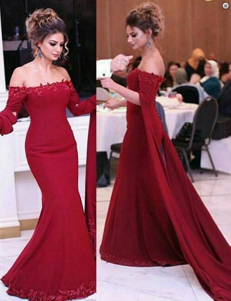 off shoulder prom dress,long prom dress,mermaid prom dress,formal prom dress,burgundy evening dress,BD3767 - dream dress