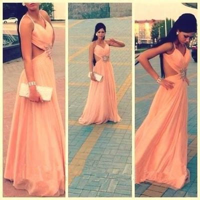 peach Prom Dresses,chiffon Prom Dress,long Prom dress,simple prom Dress,backless evening Dress,BD602 - dream dress