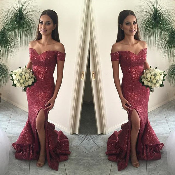 Sequin prom Dress,Charming Prom Dresses,Red prom Dress,Off shoulder prom dress,Evening dress,BD060 - dream dress