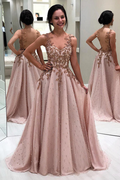 Princess Appliques Beaded Long Blush Pink Evening Prom Dresses,PD3809