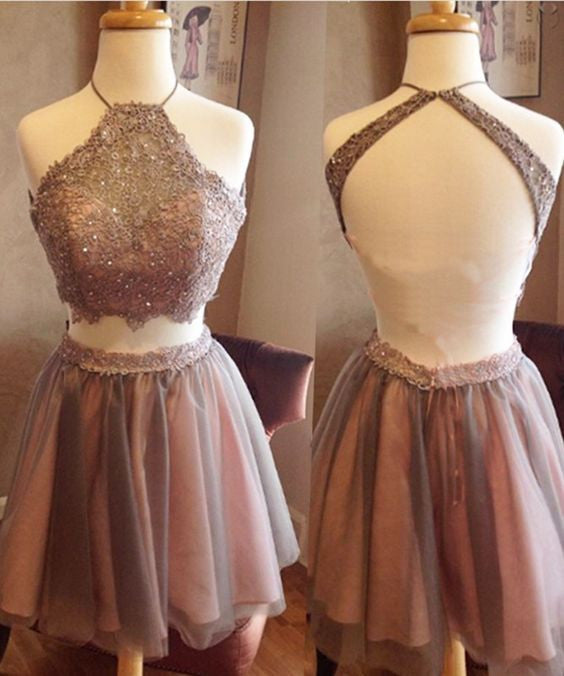 short prom Dress,two pieces Prom Dresses,backless prom Dress,halter prom dress,cocktail dress,BD4687 - dream dress