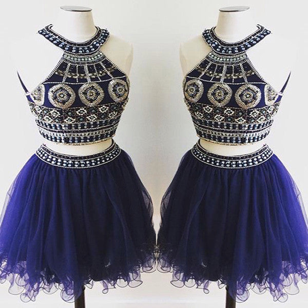 short Homecoming dress,royal blue prom Dress,charming Prom Dresses,two pieces prom dress,BD400 - dream dress