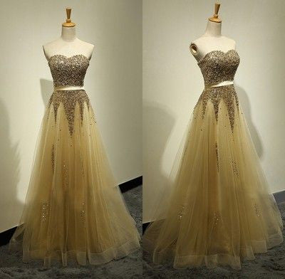 Long prom Dress,Charming Prom Dress,Gold prom dress,A-line prom dresses,Party dress,BD018 - dream dress