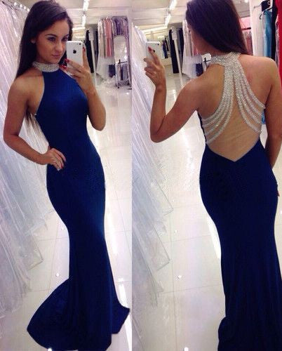 royal blue Prom Dresses,high neck prom dress,long prom Dress,see through back prom dress,BD0397 - dream dress