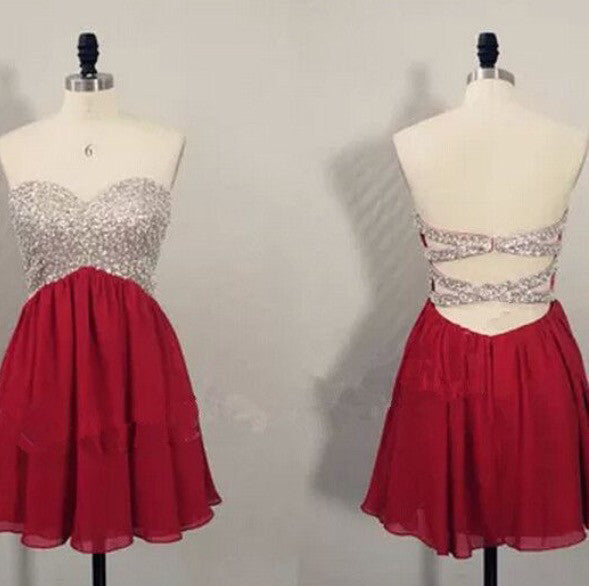 Red Homecoming dress,Short prom Dress,Backless Prom Dresses,Party dress for girls,cocktail dress,BD305 - dream dress