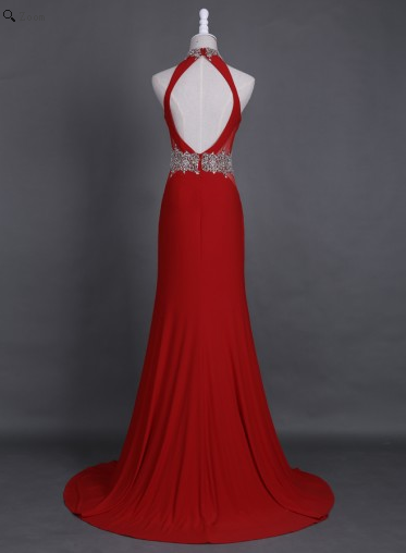 red Prom Dress, Long Prom Dress, open back Prom Dress, chiffon Prom Dress, formal evening Dress, BD2446 - dream dress
