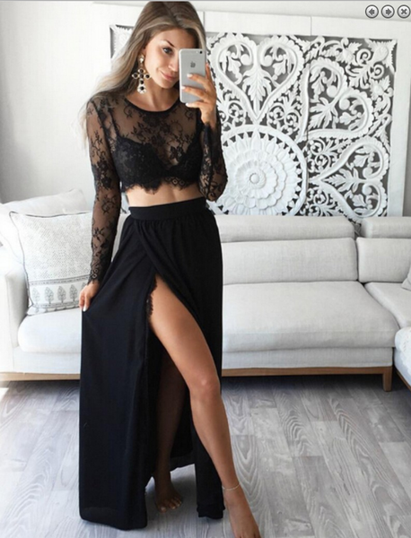 two pieces Prom Dresses,lace sleeves prom dress,charming prom Dress,two pieces prom dress,black evening dress,BD2416 - dream dress