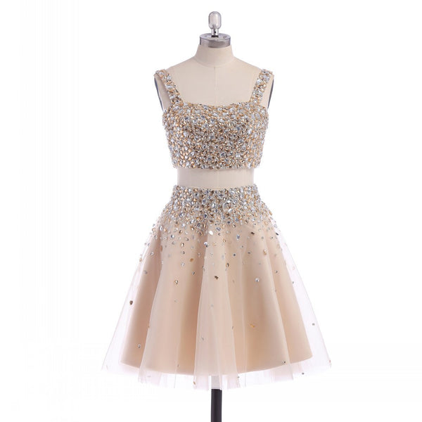Two pieces Homecoming dress,short prom Dress,Rhinestones Prom Dresses,Party dress for girls,BD362 - dream dress