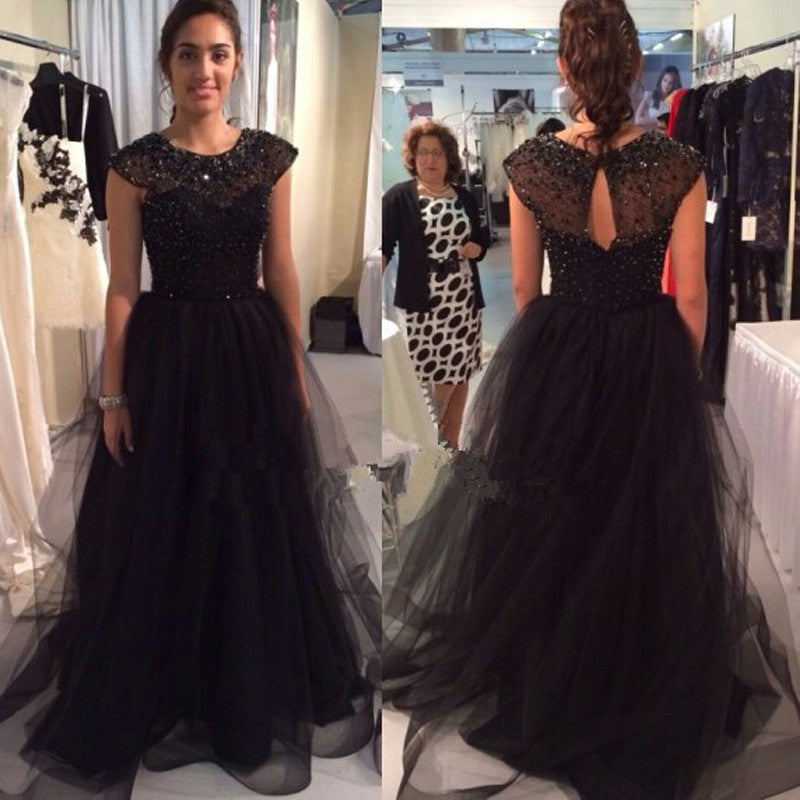 black Prom Dresses,long prom dress,A-line prom Dress,cap sleeves prom dress,charming prom gown,BD2978 - dream dress