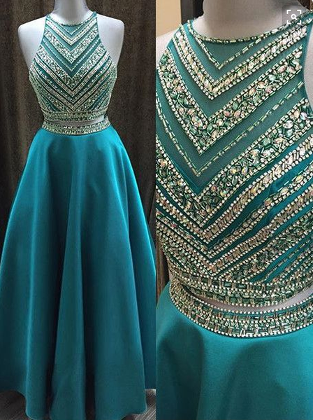 blue Evening Dress,two pieces Prom Dress,long prom dress, A-line prom dress,beaded evening gown,BD2701 - dream dress