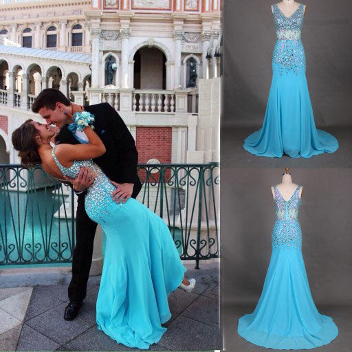 charming Prom Dress,long prom dress,blue prom dress,evening dress,BD701 - dream dress