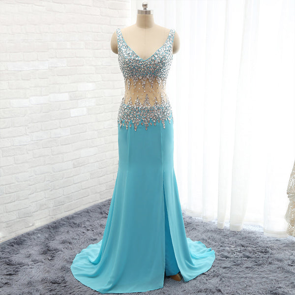 long prom dress,charming Prom Dress,blue prom dress,side slit prom dress,formal evening dress,BD1276 - dream dress
