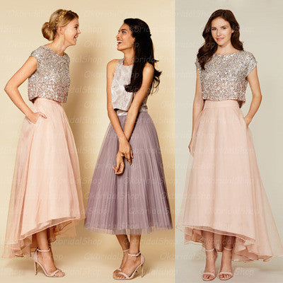 sequin bridesmaid dresses, 2 piece bridesmaid dresses, organza bridesmaid dresses, blush pink bridesmaid dresses,strapless bridesmaid dresses,BD360001 - dream dress