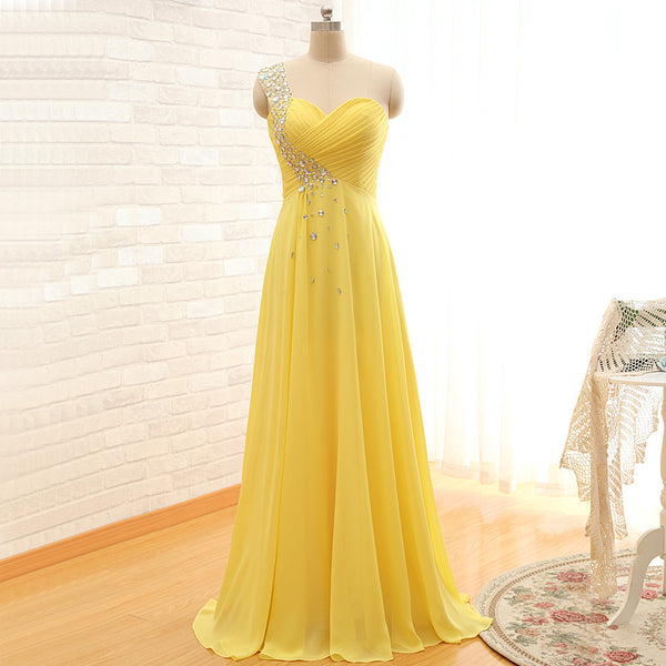 long prom dress,yellow Prom Dress,chiffon prom dress,one shoulder prom dress,evening dress,BD1279 - dream dress