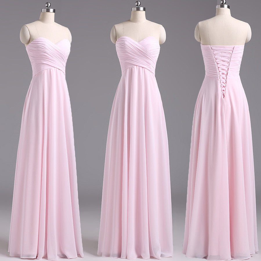 long bridesmaid Dress, pink bridesmaid Dress, chiffon bridesmaid Dress, cheap bridesmaid Dress, BD1644 - dream dress